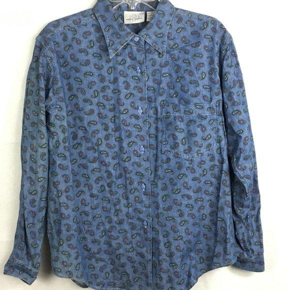 Paul Harris Vintage 90s Denim Blue Paisley Blouse